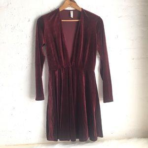 American Apparel deep v maroon velvet dress